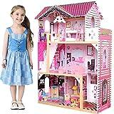 BAKAJI Casa de muñecas de Juguete para niños Fabricada íntegramente en Madera, 3 Pisos, 4 Habitaciones cuidadas en Cada Detalle con Muebles y Accesorios de Juego. Dimensiones: 88 x 33 x 118 cm