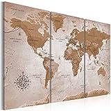 murando - Cuadro en Lienzo Mapamundi 120x80 cm Impresión de 3 Piezas Material Tejido no Tejido Impresión Artística Imagen Gráfica Decoracion de Pared - Geografia Mapa del Mundo k-A-0106-b-e