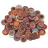 100 piezas de 25 mm de color mezclado botones de madera vintage lisos botones de madera de 2 agujeros para la decoración de artesanía de bricolaje o el cuaderno