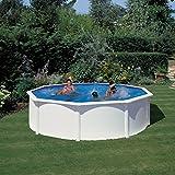 Gre KIT460ECO Fidji - Piscina Elevada Redonda, Aspecto Acero Blanco, 460 x 120 cm