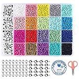 Cuentas de colores juguetes para hacer pulseras collares joyería de bricolaje cuentas de arcilla manualidades de bricolaje para niños niños adultos juego completo de letras (cuentas de vidrio)