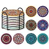 Posavasos para bebidas, Posavasos absorbentes con soporte, Posavasos de cerámica Mandala con corcho, Regalo de inauguración Posavasos de piedra Set de 8 (Multicolor1)