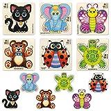Juguetes Niños 1 2 3 Años - 6 Montessori Juegos Bebe Puzzles de Madera - Regalo Infantiles Rompecabezas Animales Educativos para Niñas y Niños 4 5