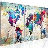 murando Cuadro Mapamundi 225x90 cm Impresión de 5 Piezas Material Tejido no Tejido Impresión Artística Imagen Gráfica Decoracion de Pared Mapa del Mundo Continente k-A-0179-b-n