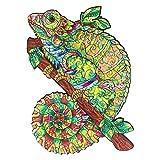 CROCOTILE Puzzle de 138 Piezas Multicolor para Adultos   Rompecabezas Camaleón Iridiscente   Juego de Mesa con Coloridas Piezas de Madera   Pasatiempos para Niños y Adultos   Tamaño 19,1 x 27,4 cm