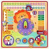 Toyssa 7 en 1 Calendario Reloj Mi Primer Calendario Reloj de Madera Niños Reloj Enseñanza a Niños Juguete Educativo Montessori Juguete de Madera Regalo de Cumpleaños Navidad para Niños