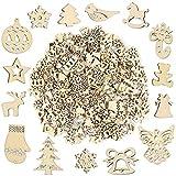 Pllieay 250 piezas de diferentes formas pequeñas rebanadas de madera hechas a mano Serie de Navidad adornos para decoraciones de Navidad, bricolaje fiesta manualidades y creación de tarjetas