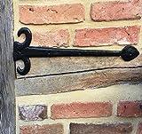 Antikas - bisagra larga rústica de hierro para puertas de madera - bisagras de color negro adorno catedral herraje portón