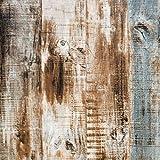 Papel adhesivo azul y marrón con aspecto de madera autoadhesivo, resistente al agua, para muebles, puertas, armarios, ventanas, 45 cm x 500 cm, vinilo