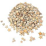 200 Piezas Estrellas de Madera en Blanco Rebanadas de Madera Mini Adornos de Estrella para Manualidades Boda DIY, 4 Tamaños Mezclados