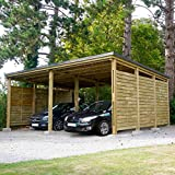 Madeira Carport - Madera tratada premium con paneles laterales, 2 coches, cubierta de acero, 38,0 m2