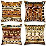 Gspirit 4 Pack Estilo étnico Africano Algodón Lino Throw Pillow Case Funda de Almohada para Cojín 45x45 cm