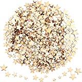400 Piezas Mini Estrellas de Madera Rodajas Tamaño Mixto Estrella de Madera Adornos Estrella de Madera Etiquetas de Forma para Fiesta de Navidad DIY Decoración de Dispersión de Mesa de Manualidades
