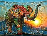 WATAKA Pintura por Números para Adultos y Niños DIY Kits de Pintura al óleo de Lona preimpresos con Marco de Madera para la Decoración De La Casa - Elefante - F 16 * 20 Pulgadas
