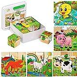 Felly Puzzles de Madera Montessori, Rompecabezas Juegos Niños 2 3 4 Años, 6 en 1 Bloque de Animales de Madera Juguetes Educativo para Bebe Niñas, Regalo de Cumpleaños, Navidad (9 Piezas)