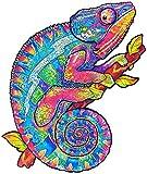 Puzzle de Madera Adultos Animales Místico | Piezas de Rompecabezas de Forma Única Rompecabezas Madera para Adultos y Niños 3D, A5 21 * 14,8 cm (Camaleón)
