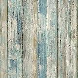Hode Papel Adhesivo para Muebles Azul Madera 45cmX2m Impermeable Papel Pintado Cocina Vinilo para Muebles Pegatina Decorativa Baño PVC Rollo