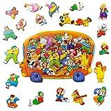 MINICHICK Puzzles de Madera para niños 5,6,7,8 años. Rompecabezas de Madera para niños de 3 a 8 años. Hecho en Europa. Juguete Educativo y Divertido. Preescolares. Rompecabezas Montessori. Hora Punta