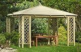 Jardín Verde - Cenador Rectangular 'Rimini' de Madera. Con Techo de Madera. Con enrejados Angulares. (3,1 x 3 x 4m)