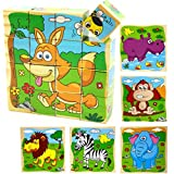 PROW Bloques de Cubo de Madera de 16 Piezas Rompecabezas, Elefante, Mono, león, hipopótamo, Cebra, Fox 6 imágenes Puzzle de 14 años niños