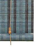 Persianas Enrollables de Madera Azul, Cortina de Bambú con Accesorios de Instalación, Ideal para Sala de Cama/Sala de Reuniones y Otras Ventanas, Fácil de Ensamblar