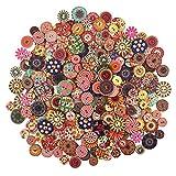 300pcs Colores Pintados Botones De Madera Redonda De Bricolaje Para La Costura Y Elaboración