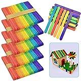 LYTIVAGEN 300 PCS Palos de Madera Multicolores Abedul Palitos de Colores Natural Palito de Helado para Manualidades Artesanía de DIY para Niños (6.5x1.5x0.1')