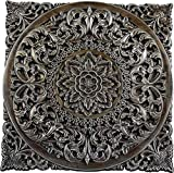 Mandala madera cuadrado plateado 50x50 cm