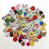 RYTECH Animales Botones, Madera Botones, 100 PCS Botones Manualidades con 2 Agujeros Botones de Madera de Colores Mezclados Botones Infantiles para Costura DIY Scrapbooking, Decoraciones de Pintura