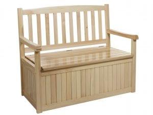 bancos de madera con almacenaje