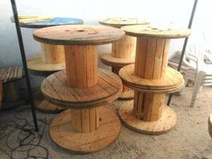 bobinas de madera mesas