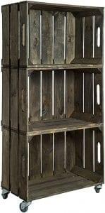 cajas de madera estanteria