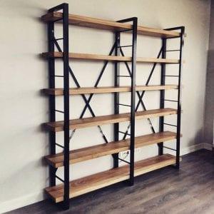 estanterias de madera y hierro