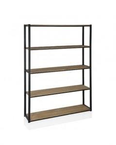 estanterias de madera y metal