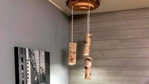 lámparas de troncos de madera
