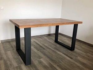 mesas de madera con hierro