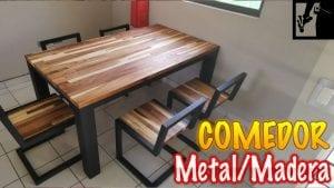mesas de madera y metal