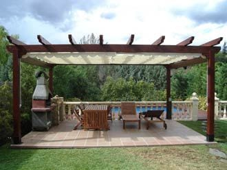 Goliraya Cenador Pergola para Jardin de Madera y PVC,Cenador de Madera,Pegola de Madela 3x3 m//4x3 m